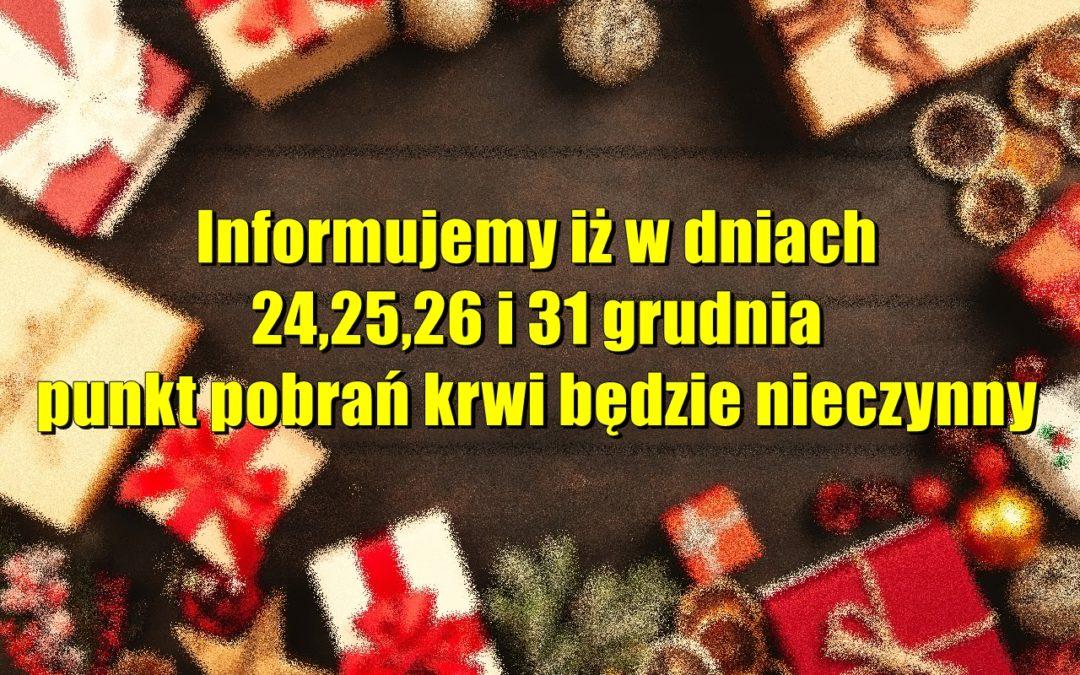 Informujemy iż w dniach 24,25,26 i 31 grudnia punkt pobrań krwi będzie nieczynny sympatik nasielsk